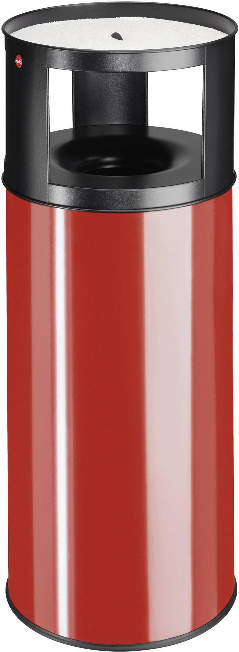 Odpadkový koš s popelníkem Hailo ProfiLine care XXL, 960 mm, Vnější Ø 390 mm, 75 l, červená