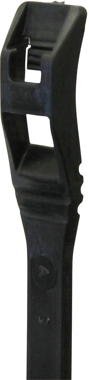 Kabelska vezica s ploščatim profilom (D x Š) 370 mm x 4.5 mm črna, 25 St. PB Fastener