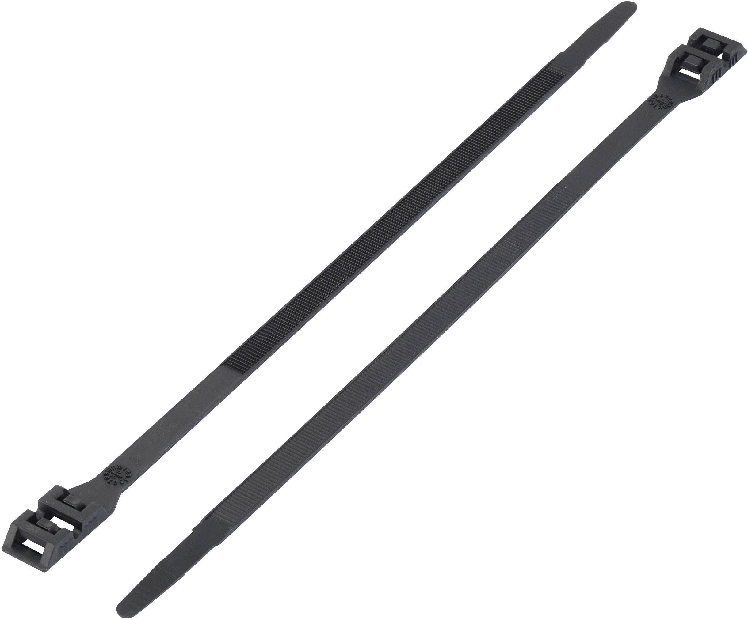 Kabelska vezica z dvojno glavo (D x Š) 265 mm x 9 mm DK-265BK črna, 1 kos, KSS