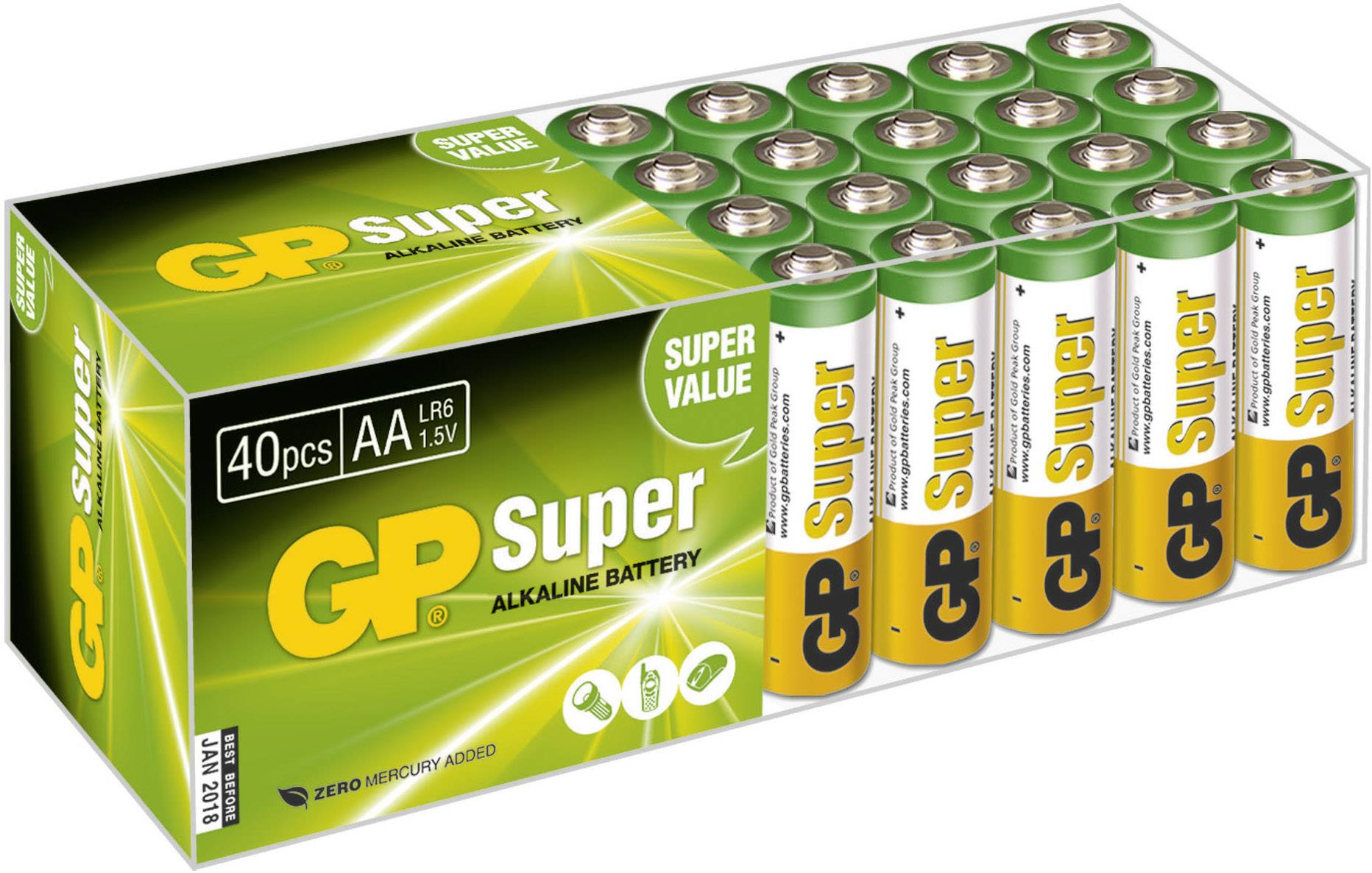Tužková batéria typu AA alkalicko/mangánová GP Batteries Super Alkaline, 1.5 V, 40 ks