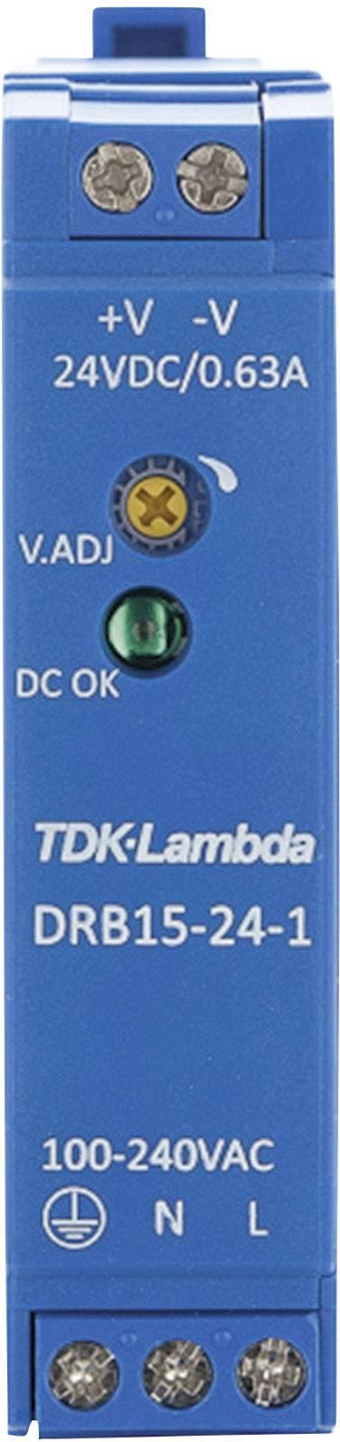 Zdroj na DIN lištu TDK-Lambda DRB15-24-1, 24 V/DC, 0,63 A