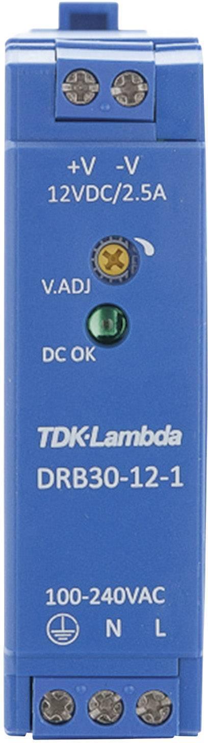 Zdroj na DIN lištu TDK-Lambda DRB30-12-1, 12 V/DC, 2,5 A
