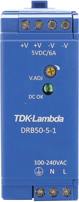 Zdroj na DIN lištu TDK-Lambda DRB50-5-1, 5 V/DC, 6 A