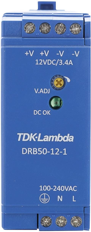 Zdroj na DIN lištu TDK-Lambda DRB50-12-1, 12 V/DC, 4,2 A
