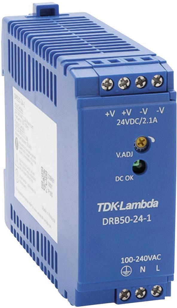 Zdroj na DIN lištu TDK-Lambda DRB50-24-1, 24 V/DC, 2,1 A