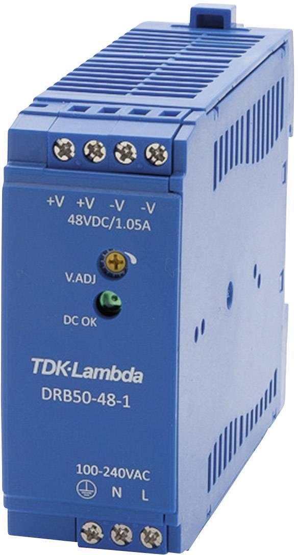 Zdroj na DIN lištu TDK-Lambda DRB50-48-1, 48 V/DC, 1,05 A
