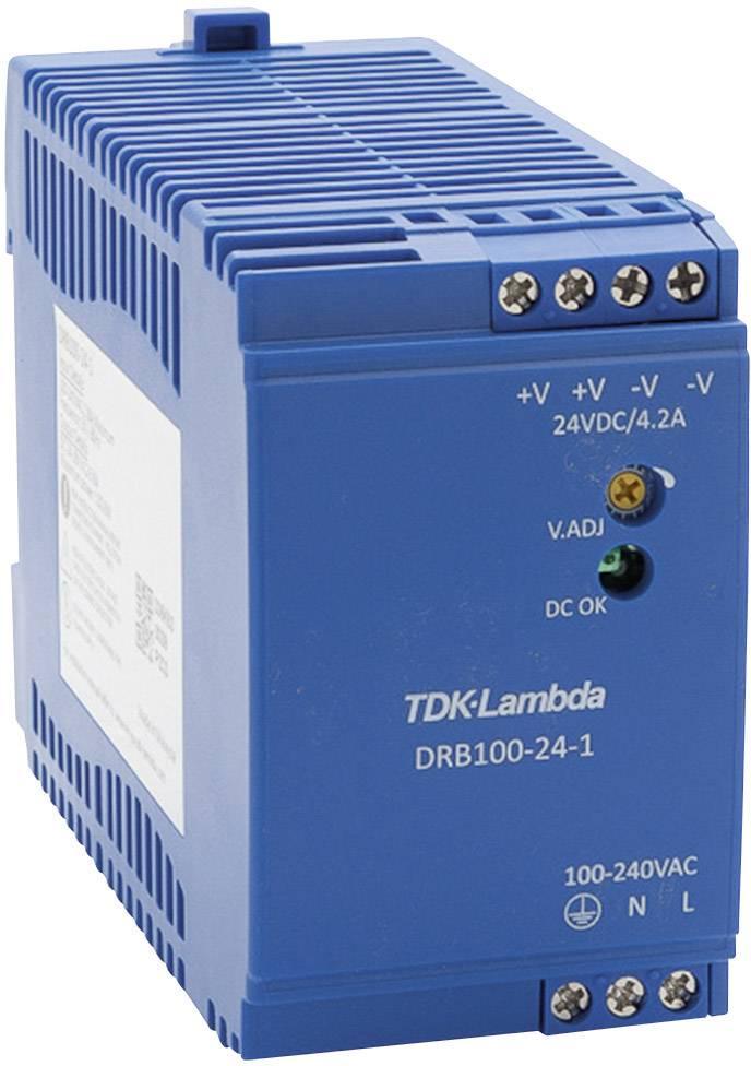 Zdroj na DIN lištu TDK-Lambda DRB100-24-1, 24 V/DC, 4,2 A