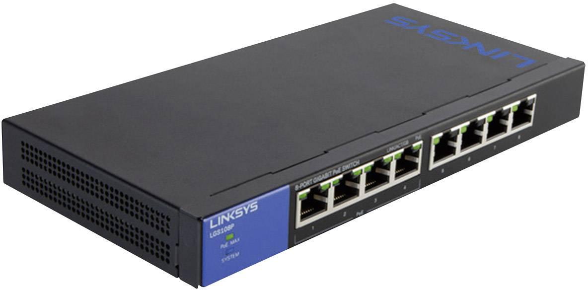 Síťový switch Linksys, LGS108P, 8 portů, 1 Gbit/s, funkce PoE