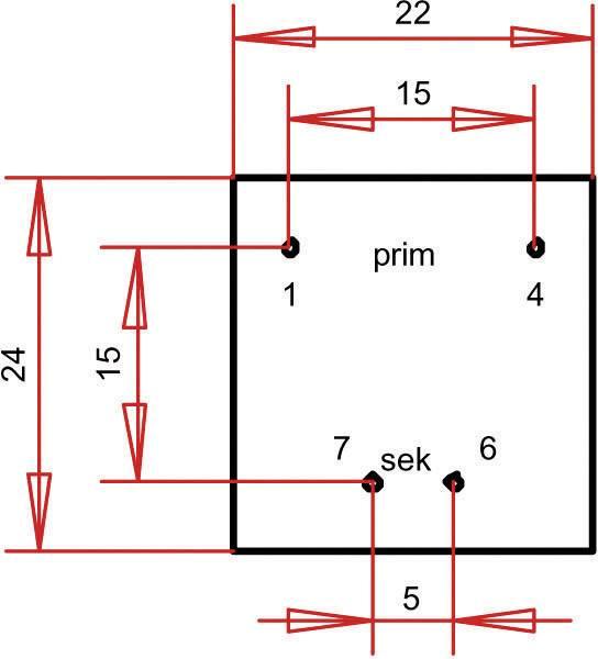 Transformátor do DPS Gerth EI 30/15,5, prim: 230 V, Sek: 6 V, 58 mA, 0,35 VA