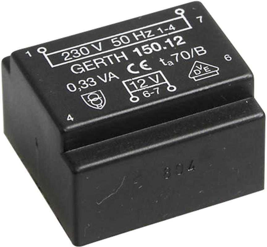 Transformátor do DPS Gerth EI 30/15,5, prim: 230 V, Sek: 12 V, 150 mA, 1,8 VA