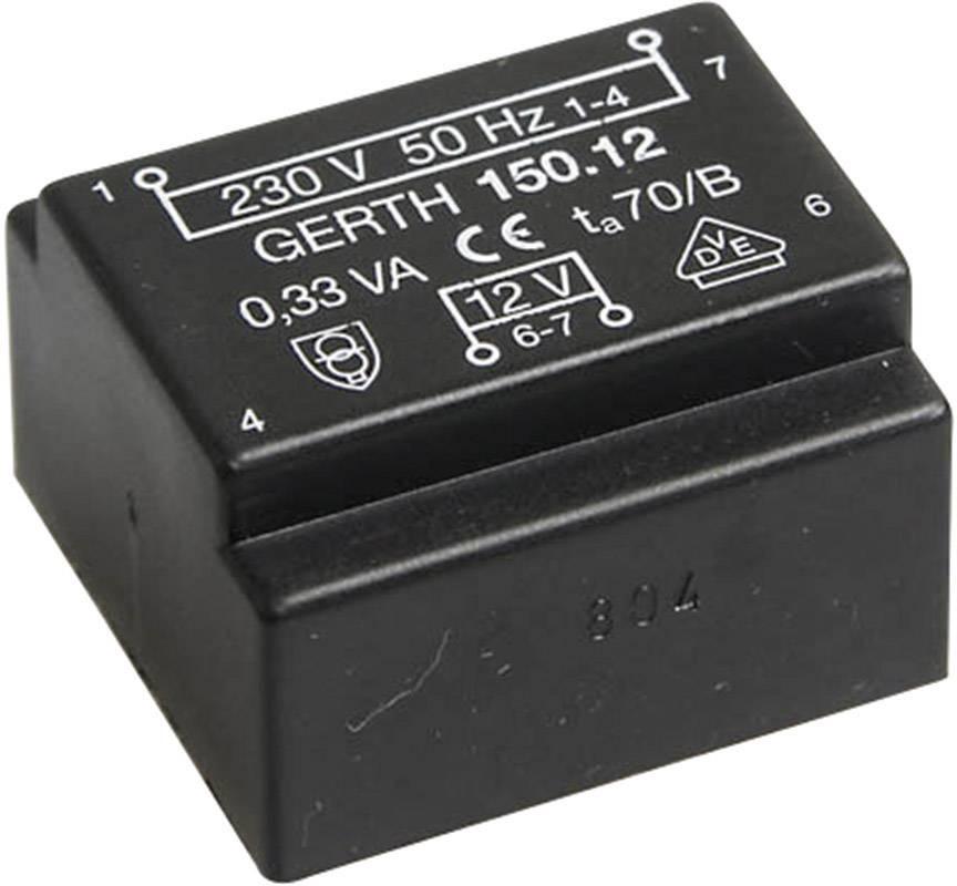 Transformátor do DPS Gerth EE 20/6,1, prim: 230 V, Sek: 2x 6 V, 29 mA, 0,35 VA