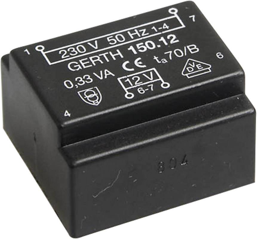 Transformátor do DPS Gerth EE 20/6,1, prim: 230 V, Sek: 2x 7,5 V, 23 mA, 0,35 VA