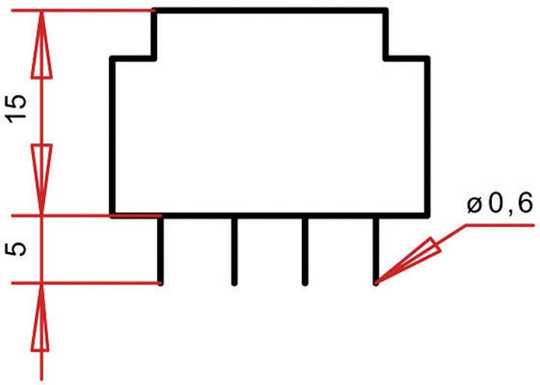 Transformátor do DPS Gerth EE 20/6,1, prim: 230 V, Sek: 2x 7,5 V, 23 mA, 0,35 VA