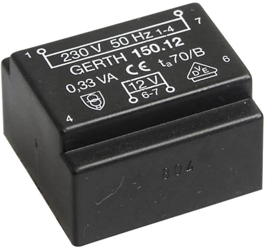 Transformátor do DPS Gerth EE 20/6,1, prim: 230 V, Sek: 2x 9 V, 19 mA, 0,35 VA