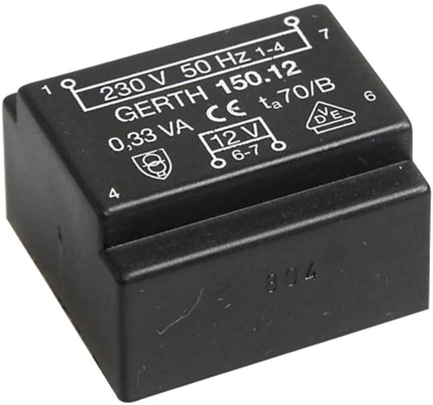 Transformátor do DPS Gerth EE 20/6,1, prim: 230 V, Sek: 2x 12 V, 14 mA, 0,35 VA