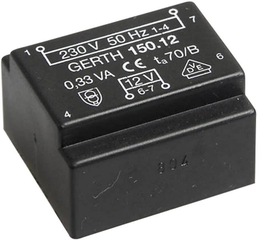 Transformátor do DPS Gerth EE 20/6,1, prim: 230 V, Sek: 2x 15 V, 11 mA, 0,35 VA