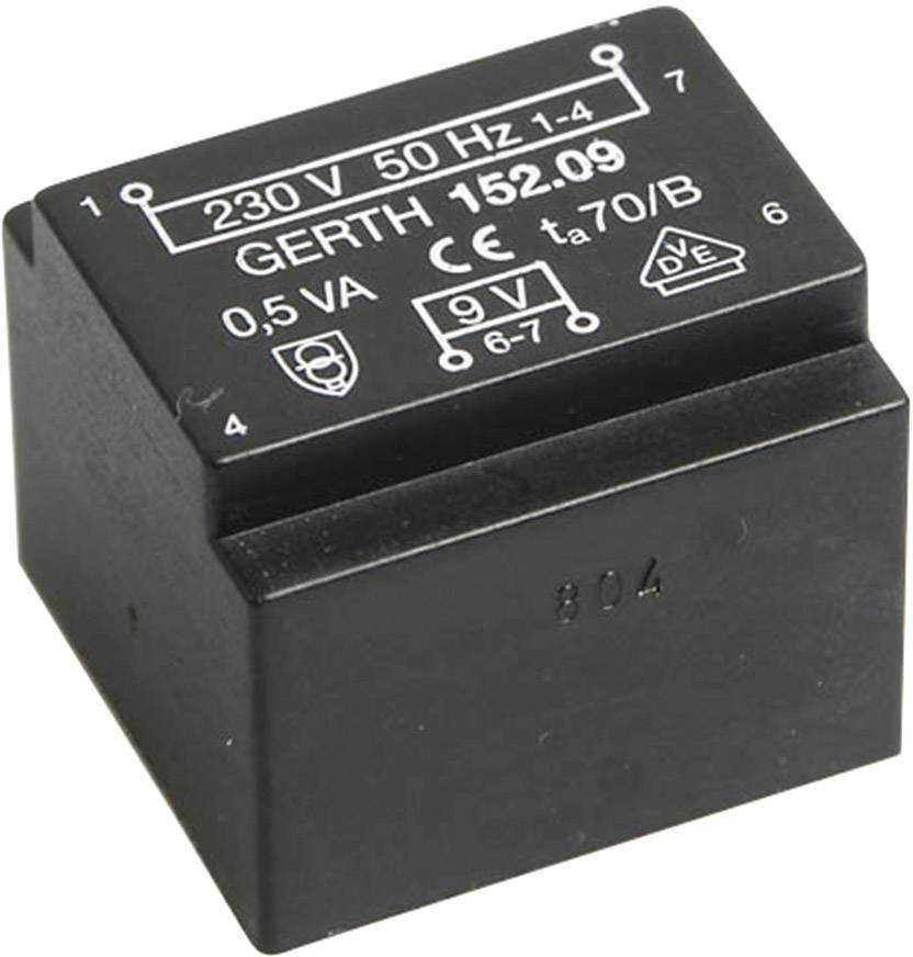 Transformátor do DPS Gerth EE 20/10,5, prim: 230 V, Sek: 6 V, 83 mA, 0,5 VA