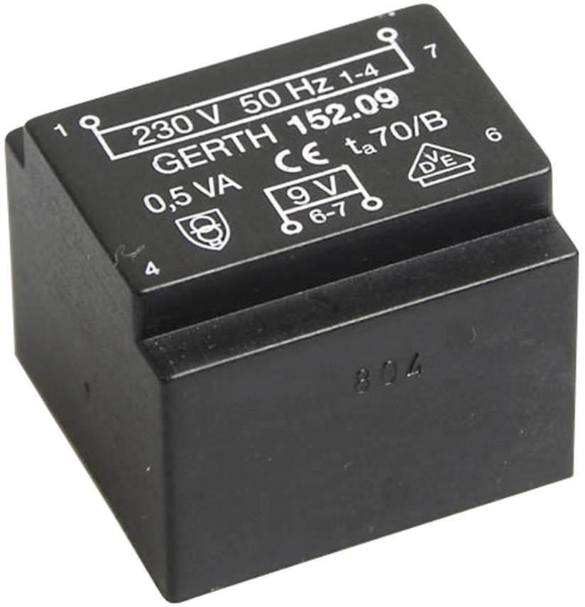 Transformátor do DPS Gerth EE 20/10,5, prim: 230 V, Sek: 9 V, 55 mA, 0,5 VA