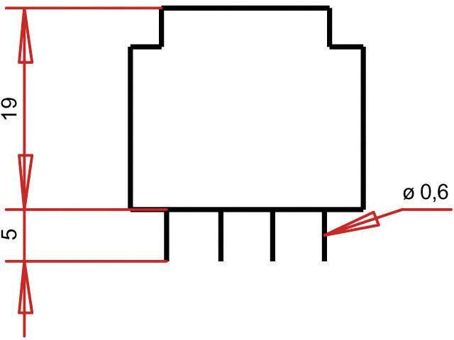 Transformátor do DPS Gerth EE 20/10,5, prim: 230 V, Sek: 12 V, 41 mA, 0,5 VA