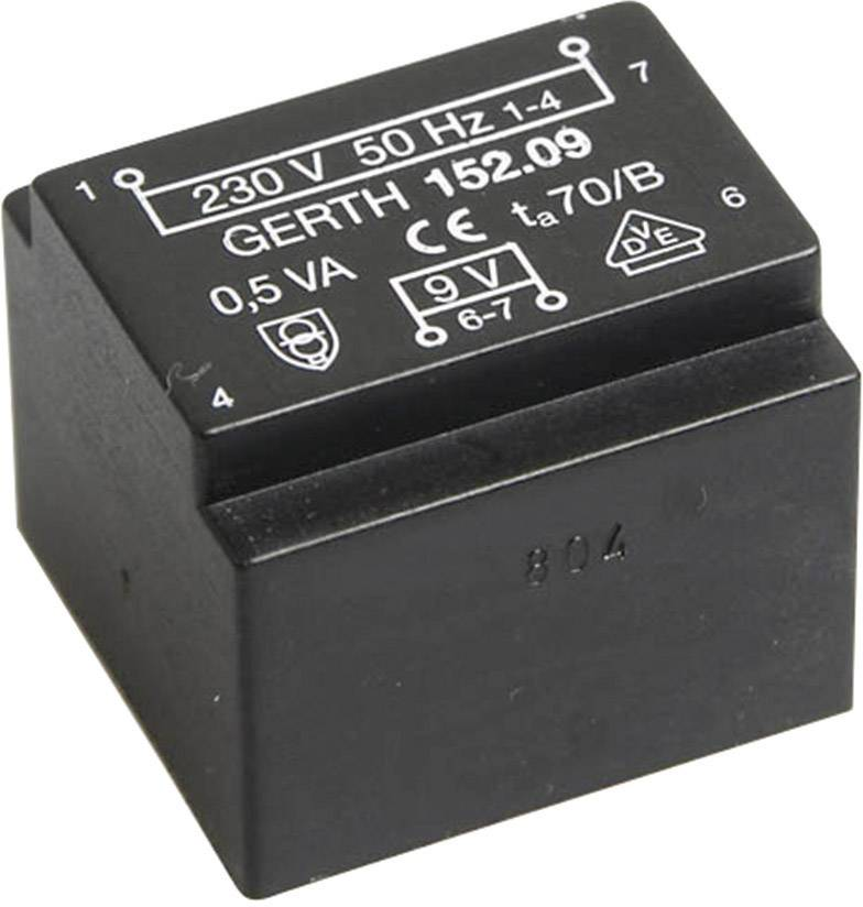 Transformátor do DPS Gerth EE 20/10,5, prim: 230 V, Sek: 2x 6 V, 41 mA, 0,5 VA