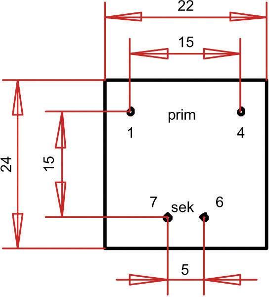 Transformátor do DPS Gerth EE 20/10,5, prim: 230 V, Sek: 15 V, 33 mA, 0,5 VA