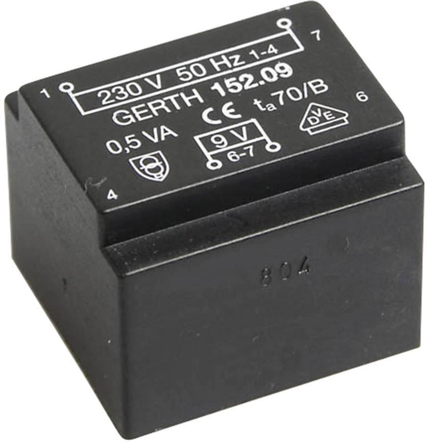 Transformátor do DPS Gerth EE 20/10,5, prim: 230 V, Sek: 18 V, 27 mA, 0,5 VA