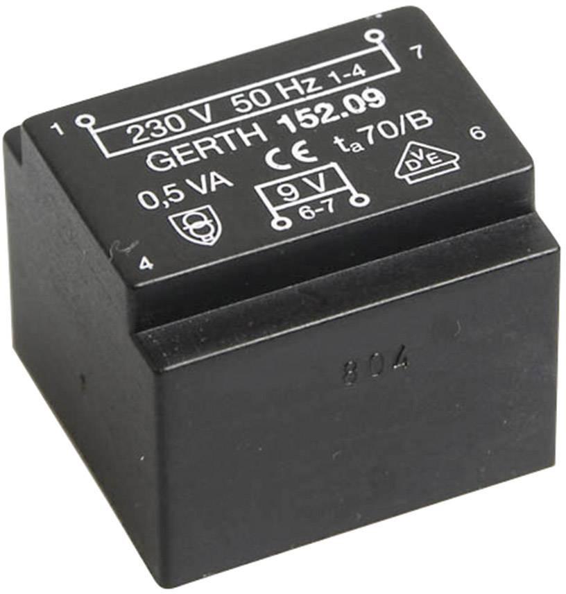 Transformátor do DPS Gerth EE 20/10,5, prim: 230 V, Sek: 2x 9 V, 27 mA, 0,5 VA
