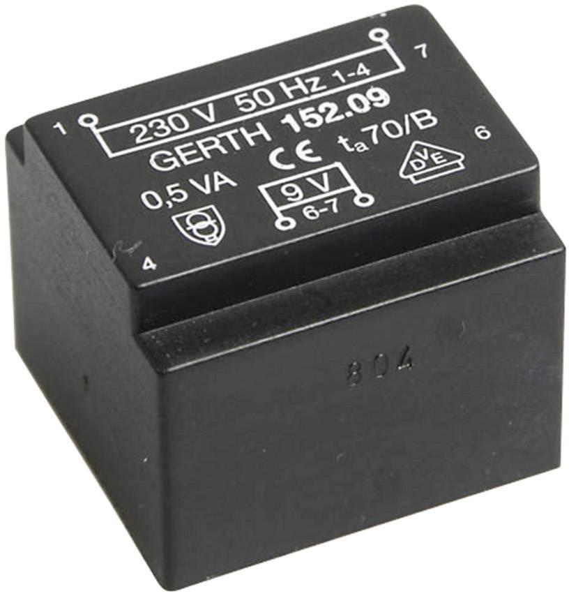 Transformátor do DPS Gerth EE 20/10,5, prim: 230 V, Sek: 24 V, 20 mA, 0,5 VA