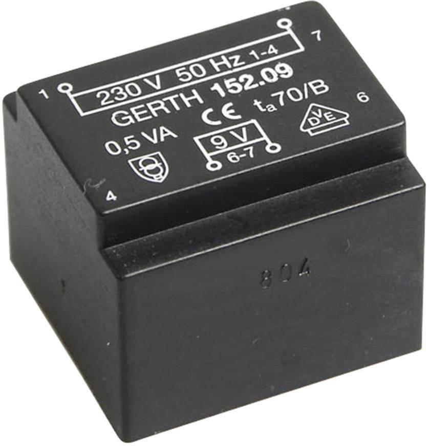 Transformátor do DPS Gerth EE 20/10,5, prim: 230 V, Sek: 2x 12 V, 20 mA, 0,5 VA