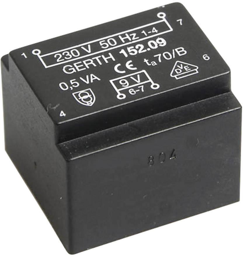 Transformátor do DPS Gerth EE 20/10,5, prim: 230 V, Sek: 2x 15 V, 16 mA, 0,5 VA