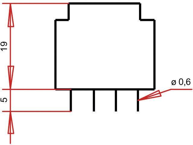 Transformátor do DPS Gerth EE 20/10,5, prim: 230 V, Sek: 2x 6 V, 29 mA, 0,35 VA
