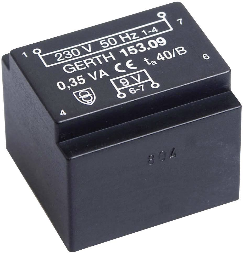 Transformátor do DPS Gerth EE 20/10,5, prim: 230 V, Sek: 2x 12 V, 14 mA, 0,35 VA