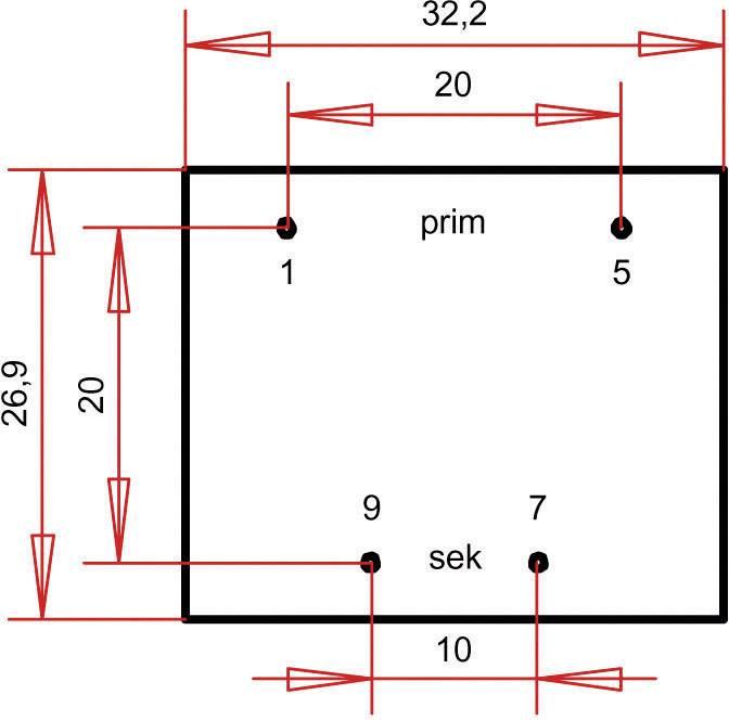 Transformátor do DPS Gerth EI 30/15,5, prim: 230 V, Sek: 6 V, 300 mA, 1,8 VA