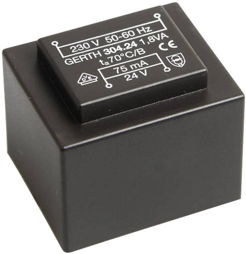 Transformátor do DPS Gerth EI 30/15,5, prim: 230 V, Sek: 2x 3 V, 300 mA, 1,8 VA