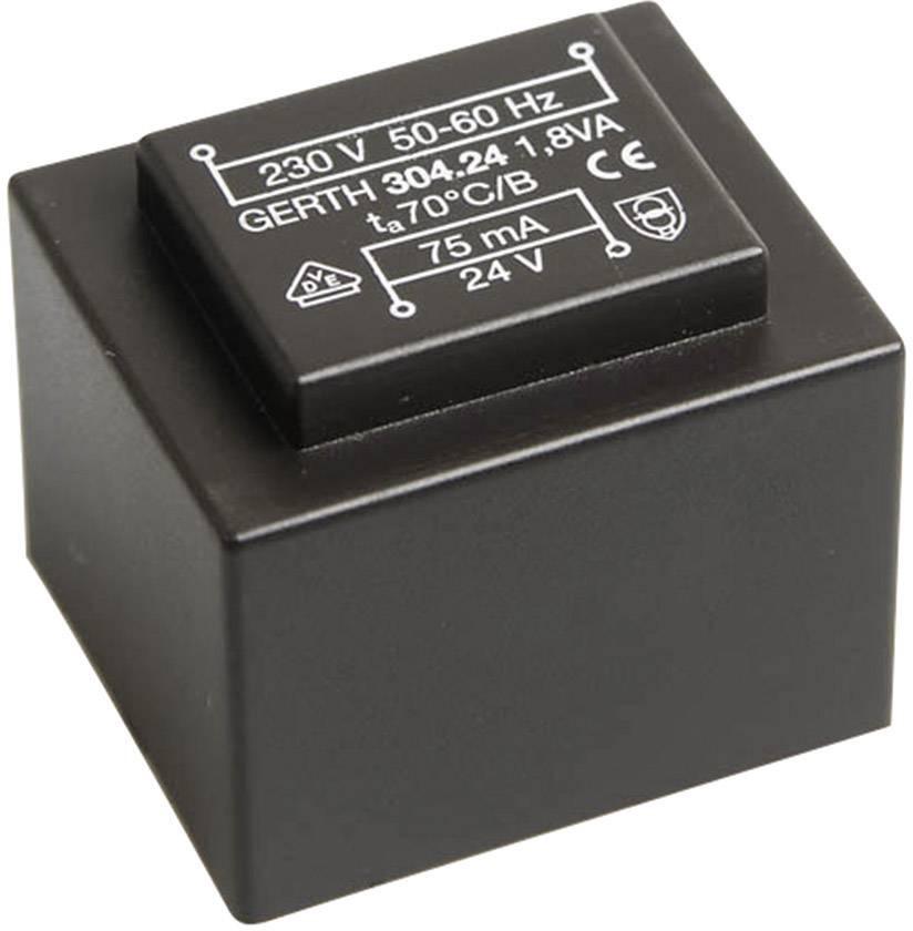 Transformátor do DPS Gerth EI 30/15,5, prim: 230 V, Sek: 2x 6 V, 150 mA, 1,8 VA