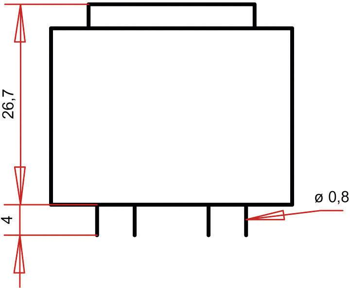 Transformátor do DPS Gerth EI 30/15,5, prim: 230 V, Sek: 15 V, 120 mA, 1,8 VA