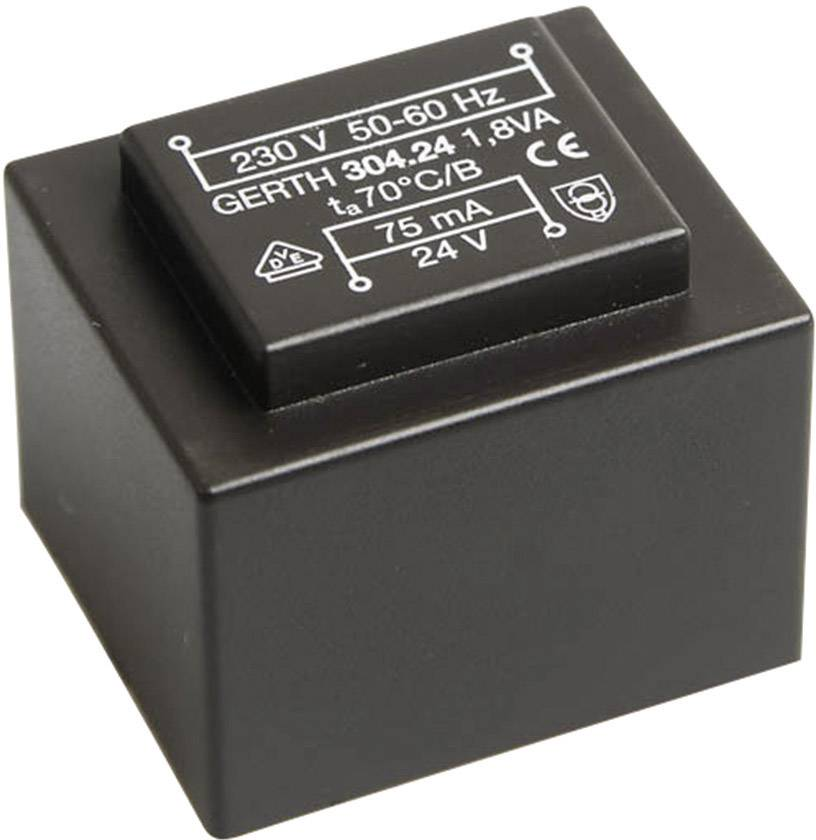 Transformátor do DPS Gerth EI 30/15,5, prim: 230 V, Sek: 21 V, 85 mA, 1,8 VA