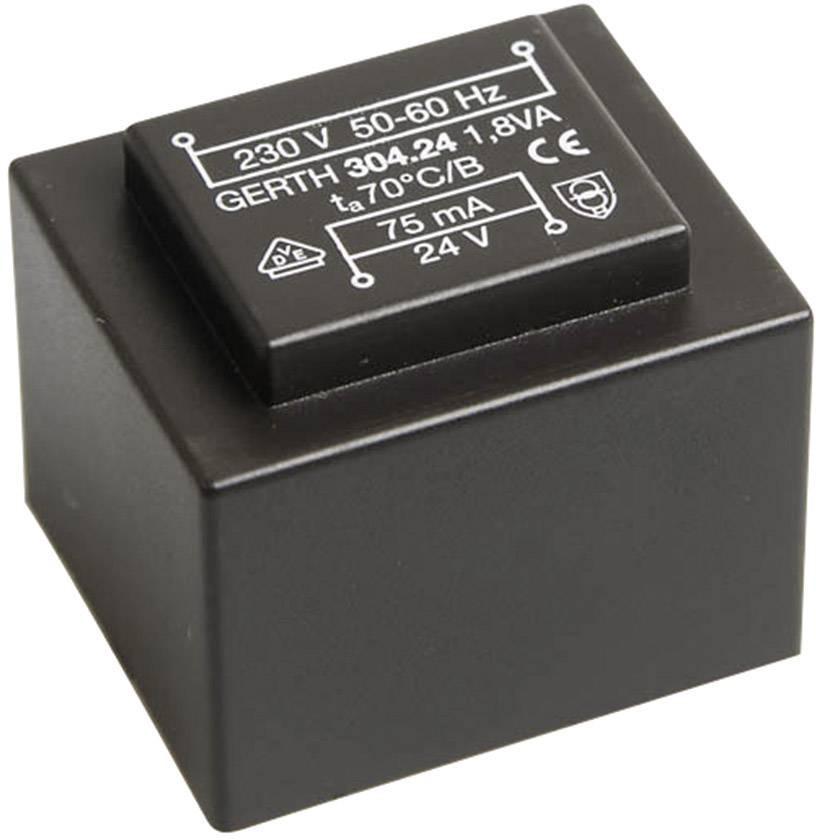 Transformátor do DPS Gerth EI 30/15,5, prim: 230 V, Sek: 24 V, 75 mA, 1,8 VA