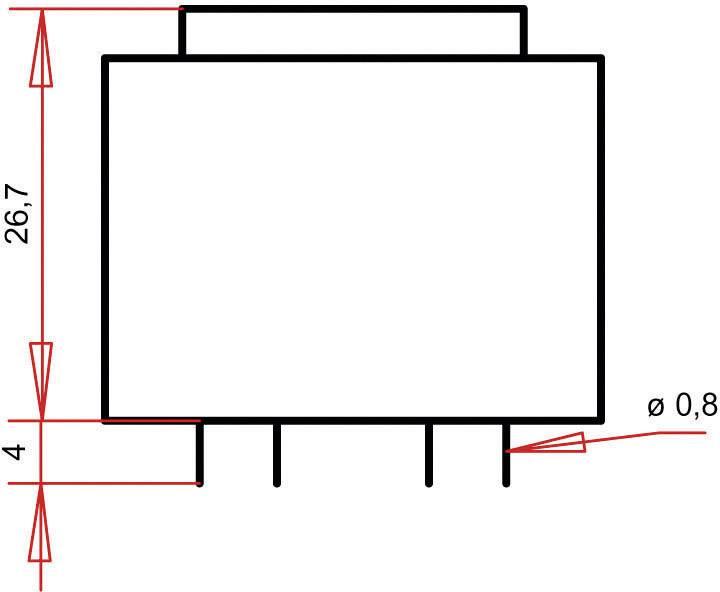 Transformátor do DPS Gerth EI 30/15,5, prim: 230 V, Sek: 2x 12 V, 75 mA, 1,8 VA