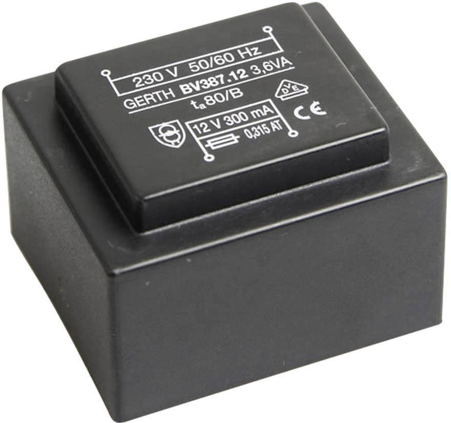 Transformátor do DPS Gerth EI 38/13, prim: 230 V, Sek: 6 V, 600 mA, 3,6 VA