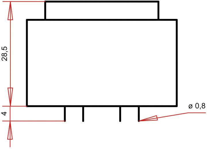 Transformátor do DPS Gerth EI 38/13,6, prim: 230 V, Sek: 9 V, 400 mA, 3,6 VA