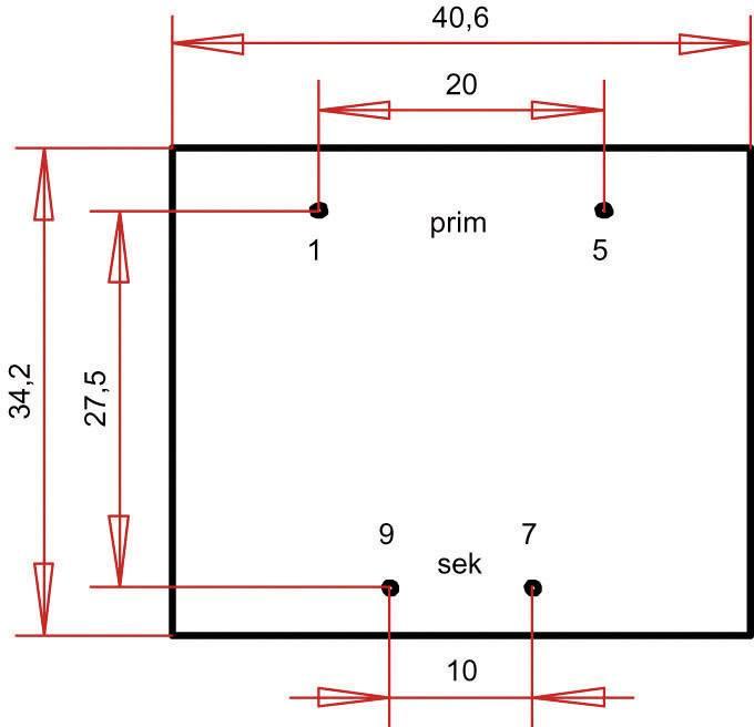 Transformátor do DPS Gerth EI 38/13,6, prim: 230 V, Sek: 12 V, 300 mA, 3,6 VA