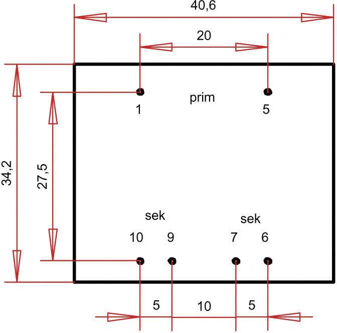 Transformátor do DPS Gerth EI 38/13,6, prim: 230 V, Sek: 2x 6 V, 300 mA, 3,6 VA