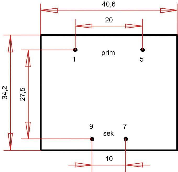 Transformátor do DPS Gerth EI 38/13,6, prim: 230 V, Sek: 15 V, 240 mA, 3,6 VA