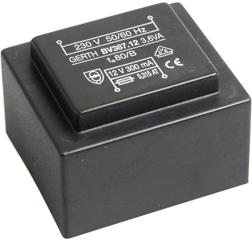 Transformátor do DPS Gerth EI 38/13,6, prim: 230 V, Sek: 2x 9 V, 200 mA, 3,6 VA