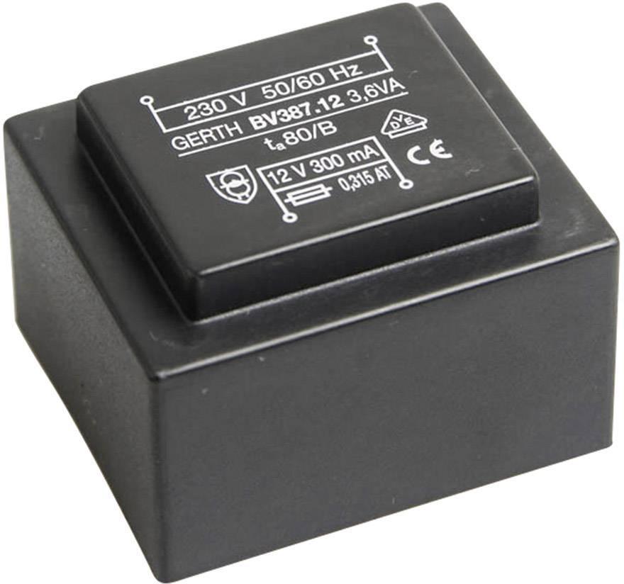 Transformátor do DPS Gerth EI 38/13,6, prim: 230 V, Sek: 24 V, 150 mA, 3,6 VA