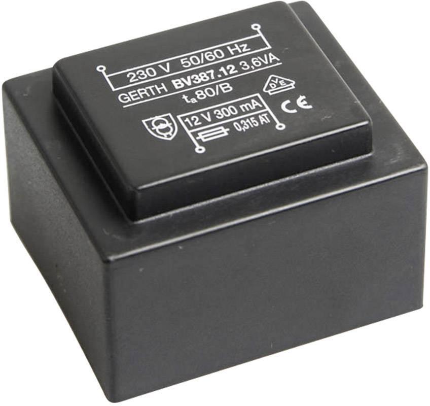 Transformátor do DPS Gerth EI 38/13,6, prim: 230 V, Sek: 2x 15 V, 120 mA, 3,6 VA