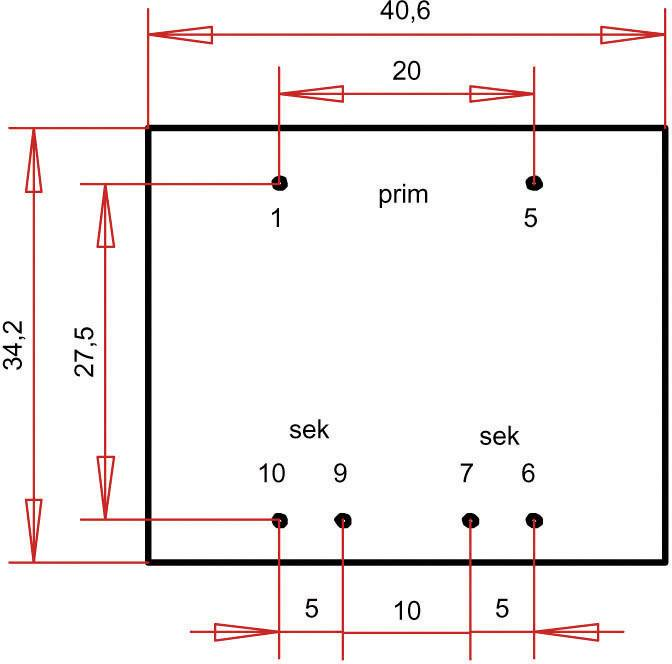 Transformátor do DPS Gerth EI 38/13,6, prim: 230 V, Sek: 2x 18 V, 100 mA, 3,6 VA