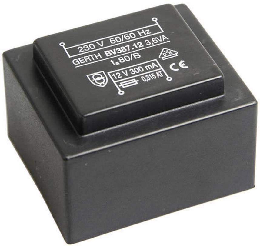 Transformátor do DPS Gerth EI 38/13,6, prim: 230 V, Sek: 2x 24 V, 75 mA, 3,6 VA