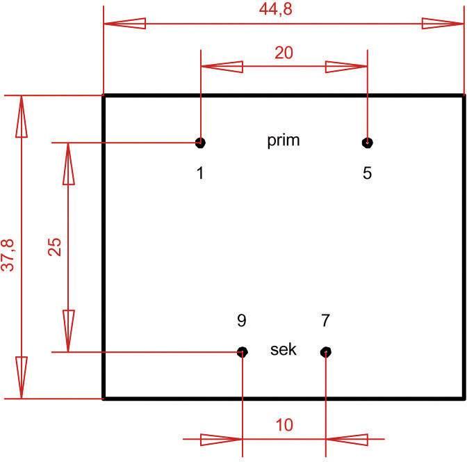 Transformátor do DPS Gerth EI 42/14,8, prim: 230 V, Sek: 6 V, 800 mA, 4,8 VA
